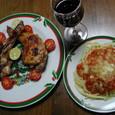 クリスマスメニュー:チキンとミートソース